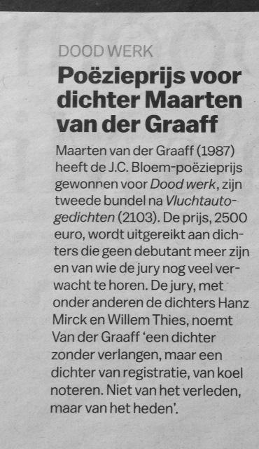 Poëzieprijs Voor Dichter Maarten Van Der Graaff